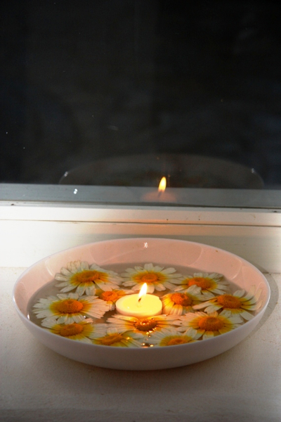 Tao's Center, Paros, Greece, flowers and candles
