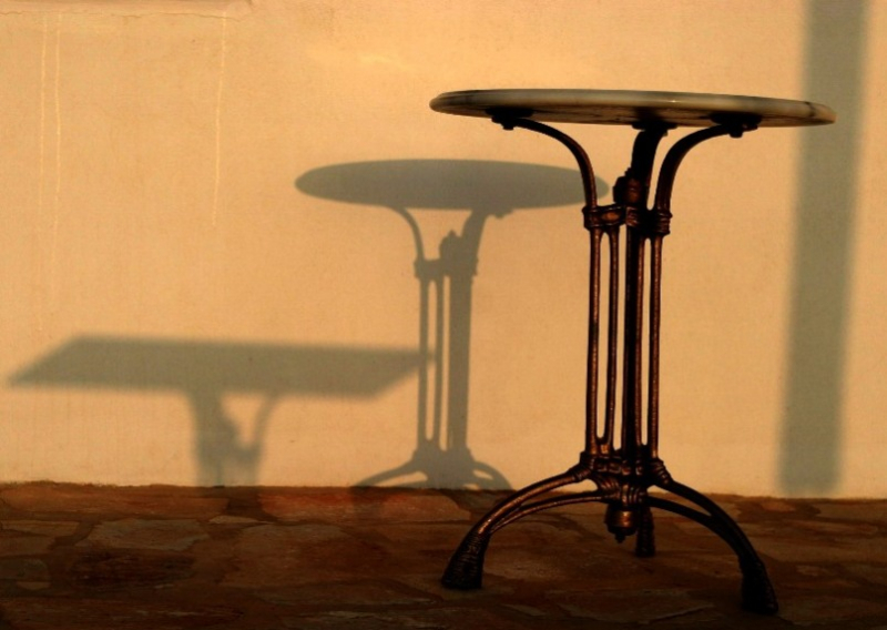 Tao's Center, Paros, Greece, table shadows